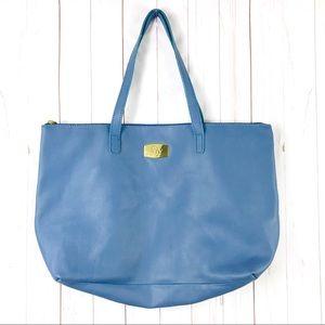 Joy Mangano Blue Leather Tote Handbag